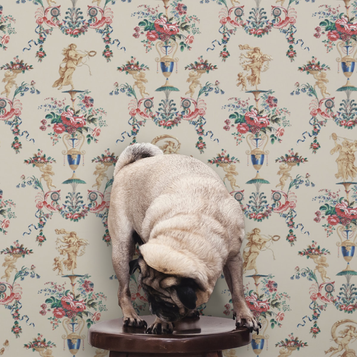 """Wandtapete creme: """"In Elysium"""" feine Ornament Tapete mit Rosen und Putti in historischer Paneel Optik, beige"""