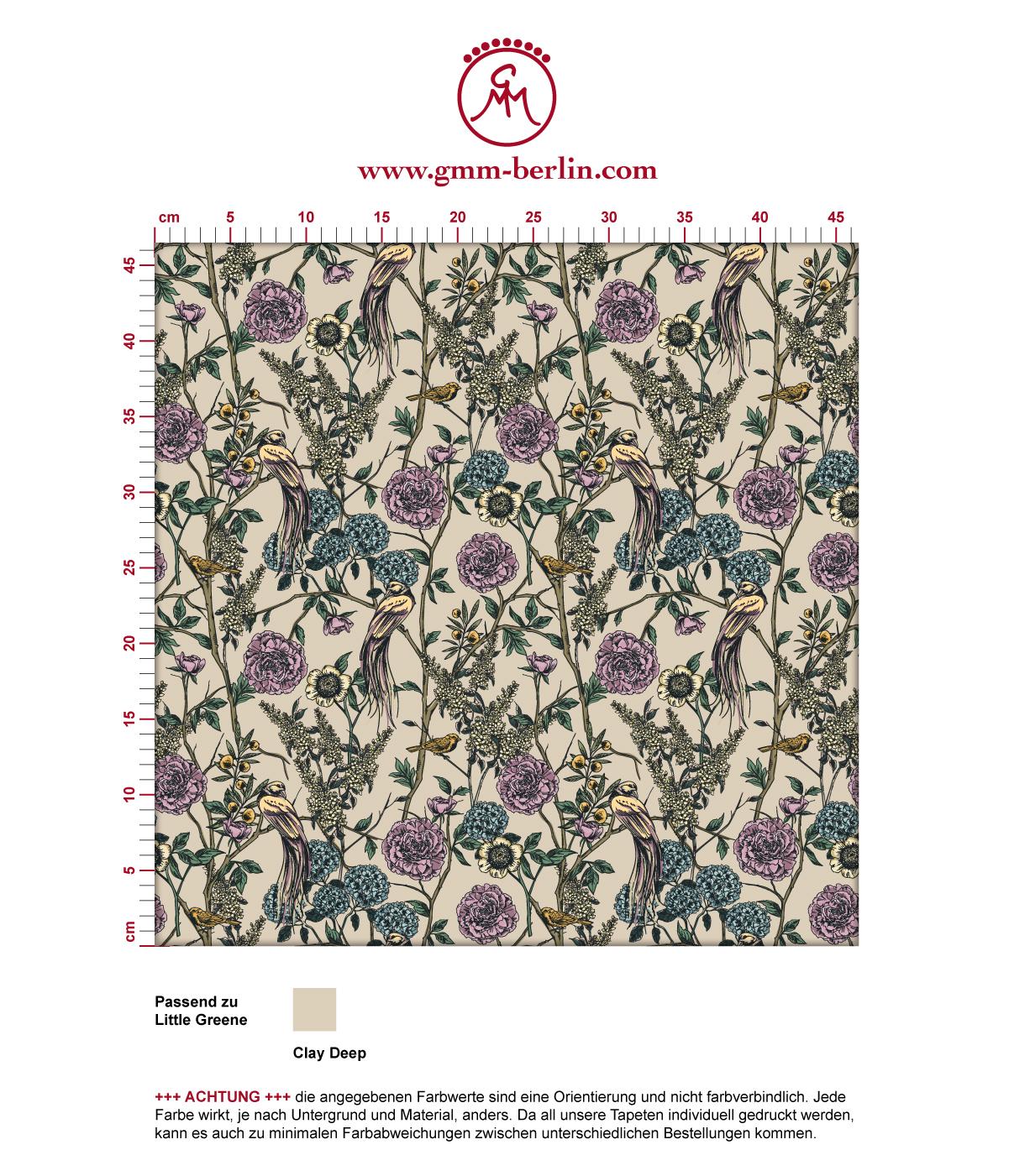 """Üppige Tapete """"Victorias Treasure"""" mit Paradies Vögeln und Blumen im victorianischen Stil in beige angepasst an Little Greene Wandfarben"""