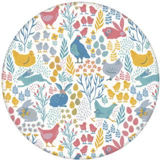 """Design Tapete """"Hoppelgarten"""" mit bunten Hühnern, Hasen und Blumen vom Land in Farbe 2"""