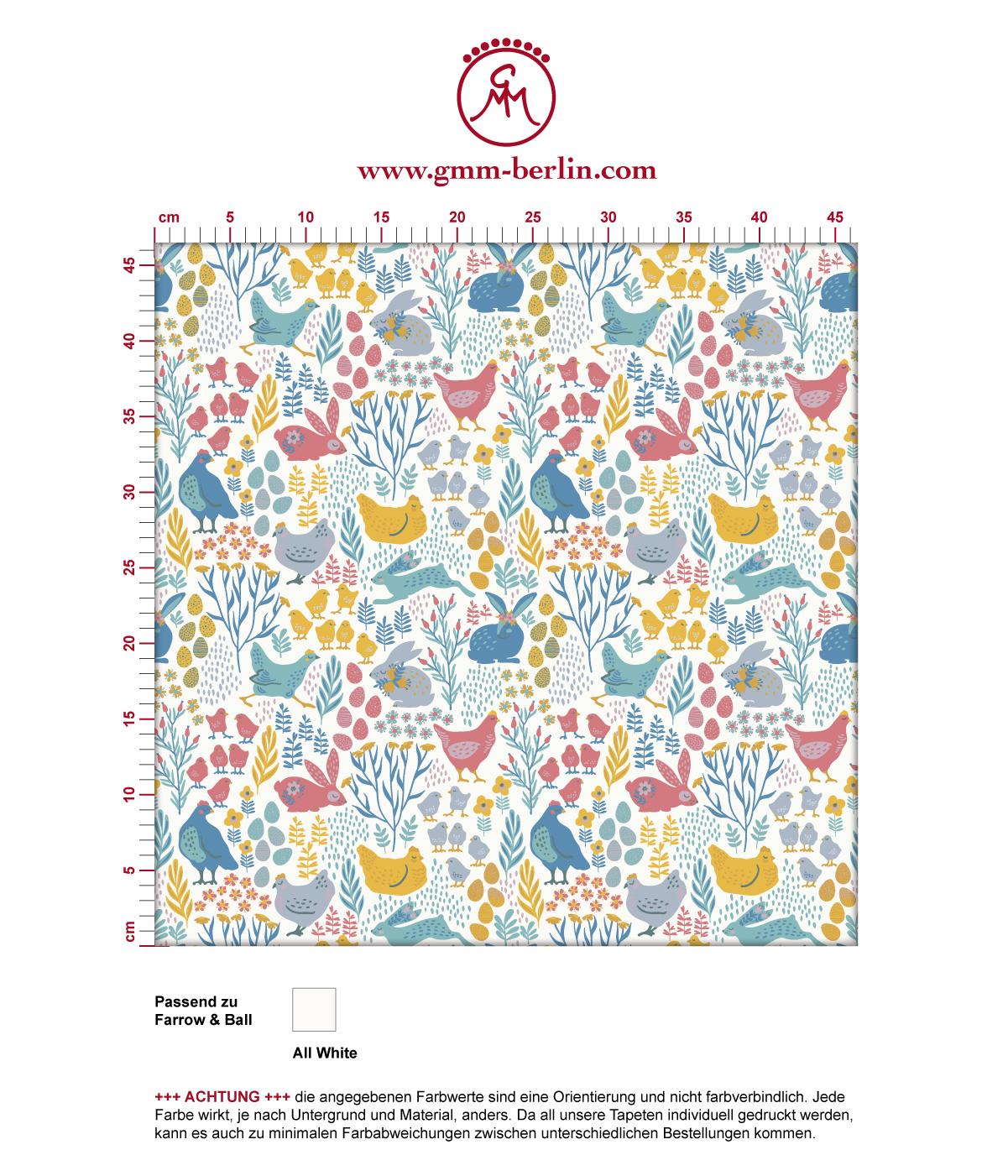 """Tapete """"Hoppelgarten"""" mit bunten Hühnern, Hasen und Blumen vom Land in Farbe 2 angepasst an Farrow & Ball Wandfarben"""