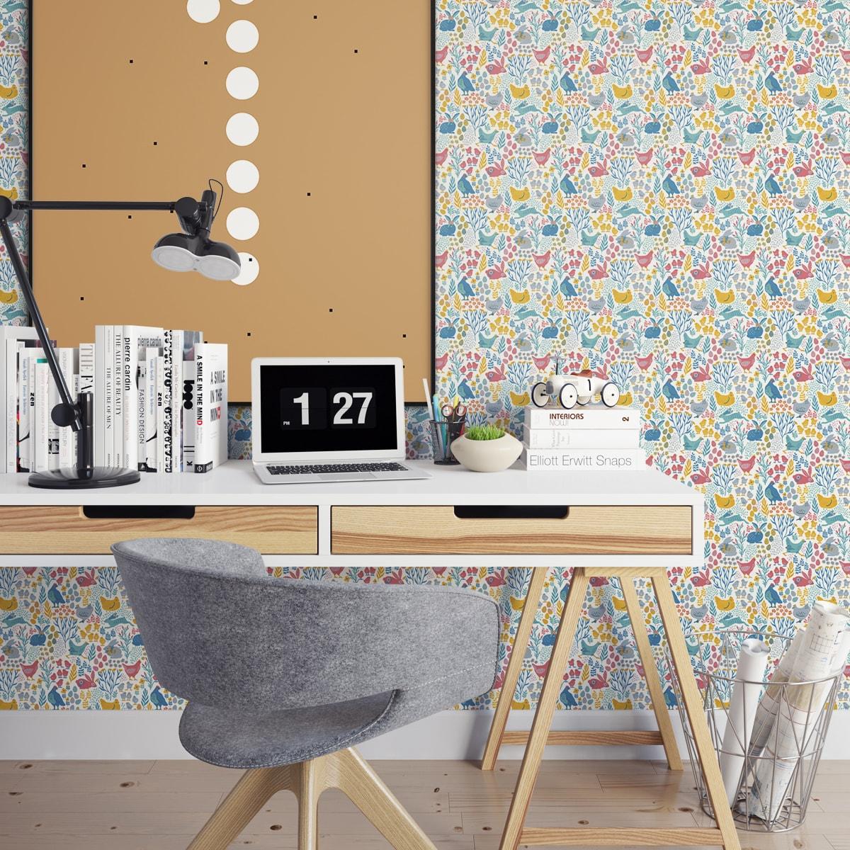 """Wandtapete gelb: Design Tapete """"Hoppelgarten"""" mit bunten Hühnern, Hasen & Blumen Land Vliestapete Wandgestaltung"""