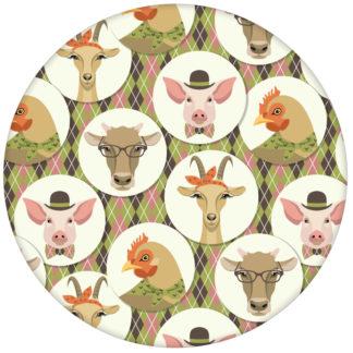 """Grüne Vliestapete """"Funny Portrait Gallery"""" mit lustigen Schweinen, Ziegen und Kühen auf Schotten Karo in oliv"""