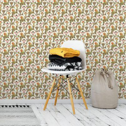 """Grüne Kinderzimmer Tapete """"Funny Portrait Gallery"""" mit lustigen Tieren auf Schotten Karo in oliv Wandgestaltung"""