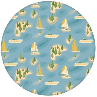 """Moderne blaue Tapete """"Insel Hopping"""" mit Yachten und Segel-Booten, Wandgestaltung aus den Tapeten Neuheiten Borten und Tapetenmotive als Naturaltouch Luxus Vliestapete oder Basic Vliestapete"""