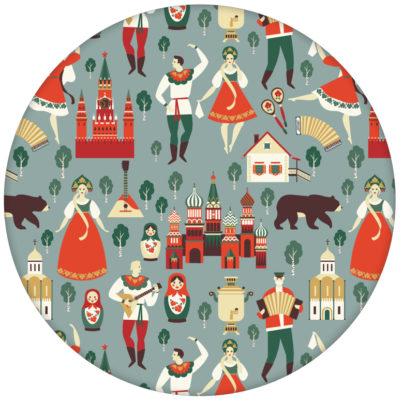 """Vintage Vliestapete """"Kalinka"""" mit tanzenden Russen in Tracht, Bären in grau grün"""