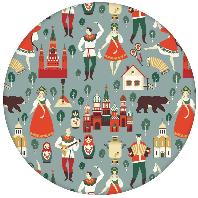 """Vintage Vliestapete """"Kalinka"""" mit tanzenden Russen in Tracht, Bären in grau grünaus dem GMM-BERLIN.com Sortiment: rote Tapete zur Raumgestaltung: #FarrowandBall für individuelles Interiordesign"""