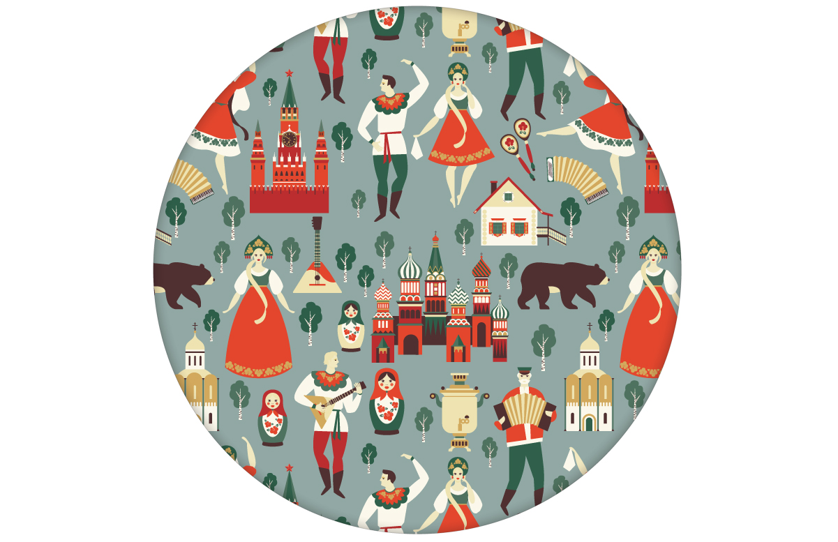 "Tapete ""Kalinka"" mit tanzenden Russen in Tracht, Bären und russischen Elementen in grau grün angepasst an Farrow & Ball Wandfarben"