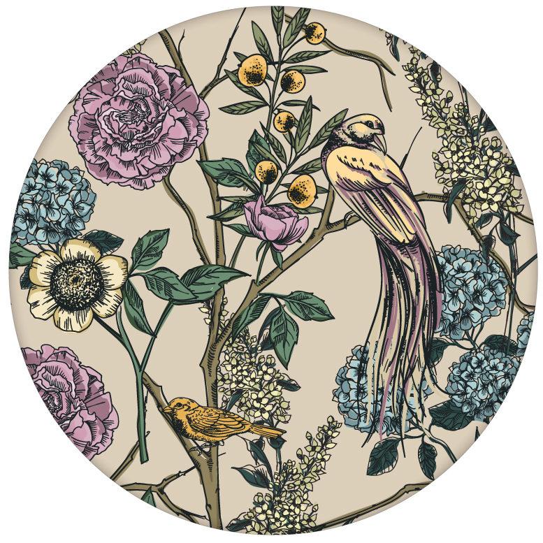 """Üppige florale Tapete """"Victorias Treasure"""" mit Paradies Vögeln und Blumen in beige - großer Rapport"""