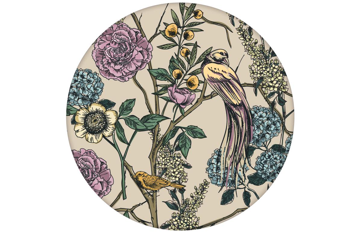 """Üppige florale Tapete """"Victorias Treasure"""" mit Paradies Vögeln und Blumen in beige - großer Rapport angepasst an Little Greene Wandfarben"""