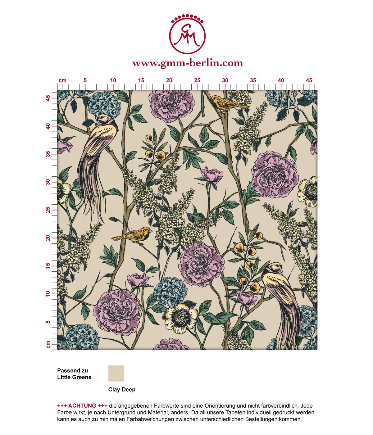 """Üppige florale Tapete """"Victorias Treasure"""" mit Paradies Vögeln und Blumen in beige - großer Rapport angepasst an Little Greene Wandfarben 3"""