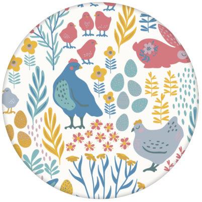 """Bunte Kinderzimmer Tapete """"Hoppelgarten"""" mit bunten Hühnern, Hasen und Blumen vom Land in Farbe 2 - groß"""