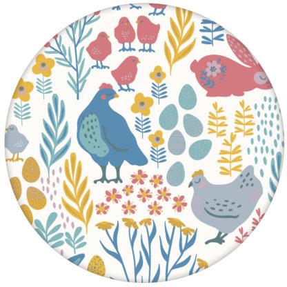 """Bunte Kinderzimmer Tapete """"Hoppelgarten"""" mit bunten Hühnern, Hasen und Blumen vom Land in Farbe - groß aus den Tapeten Neuheiten Exklusive Tapete für schönes Wohnen als Naturaltouch Luxus Vliestapete oder Basic Vliestapete"""