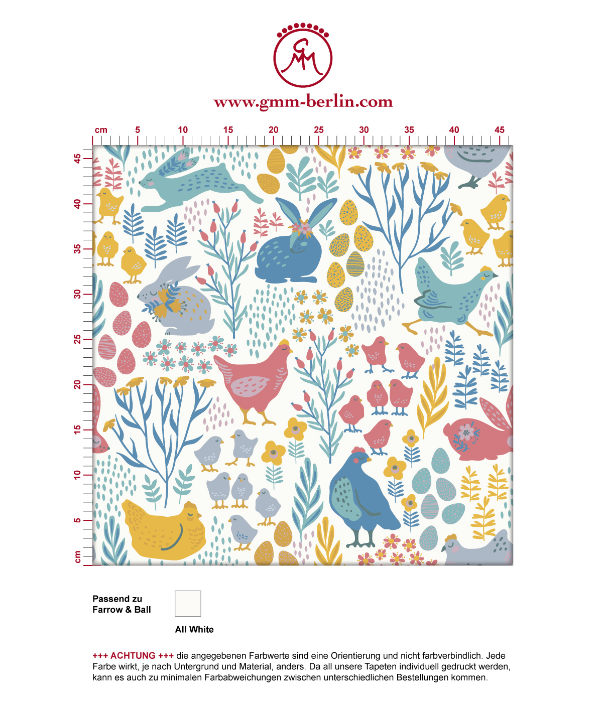"""Bunte Tapete """"Hoppelgarten"""" mit bunten Hühnern, Hasen und Blumen vom Land in Farbe 2 - groß angepasst an Farrow & Ball Wandfarben"""