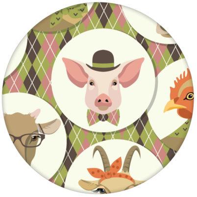 """Moderne Design Tapete """"Funny Portrait Gallery"""" mit Schweinen, Ziegen und Kühen auf Schotten Karo in oliv - große Wandgestaltung"""