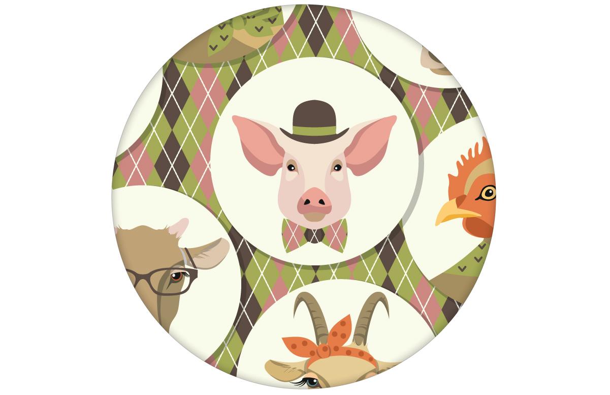 """Moderne Tapete """"Funny Portrait Gallery"""" mit Schweinen, Ziegen und Kühen auf Schotten Karo in oliv - groß angepasst an CMYK Wandfarben"""