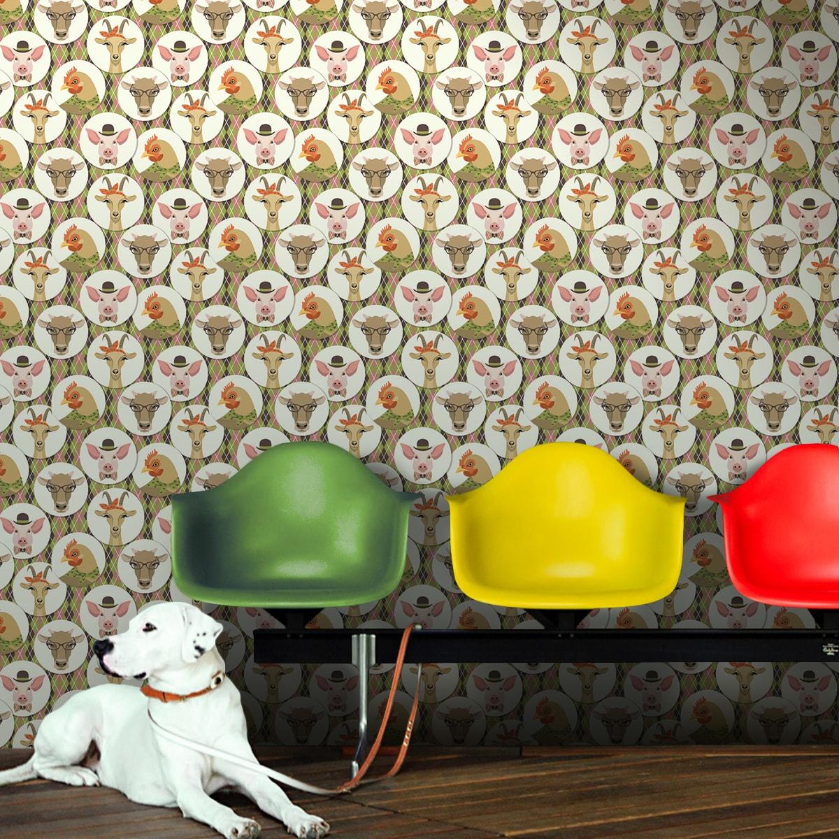 """Moderne Vlies Tapete """"Funny Portrait Gallery"""" mit Tieren auf Schotten Karo in oliv - groß Kinder Wandgestaltung"""