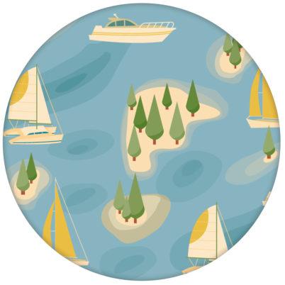 """Design Tapete """"Insel Hopping"""" mit Yachten und Segel-Booten in gelb - große Wandgestaltung"""