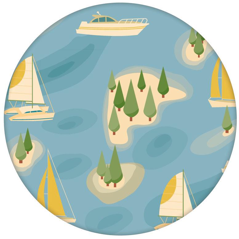 """Design Tapete """"Insel Hopping"""" mit Yachten und Segel-Booten in gelb - große Wandgestaltung aus den Tapeten Neuheiten Borten und Tapetenmotive als Naturaltouch Luxus Vliestapete oder Basic Vliestapete"""