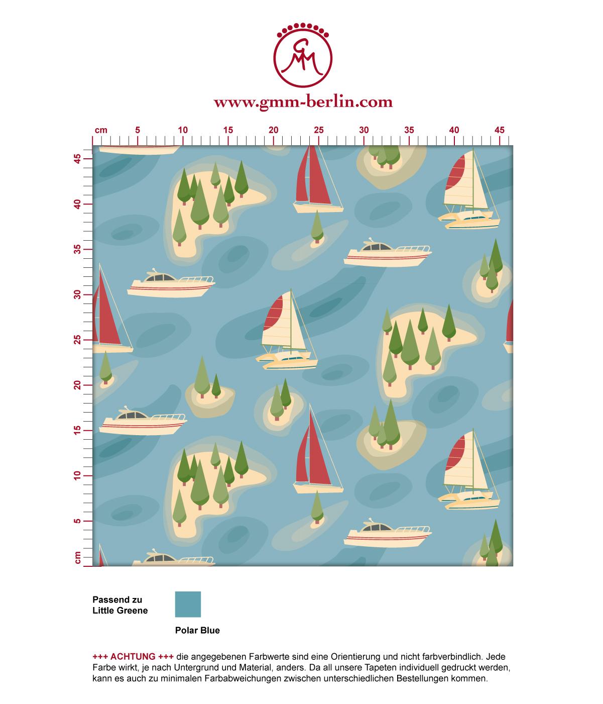 """Tapete """"Insel Hopping"""" mit Yachten und Segel-Booten in gelb - groß angepasst an Little Greene Wandfarben"""