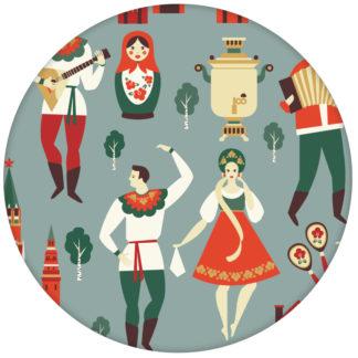 """""""Kalinka"""" bunte Design Tapete mit tanzenden Russen, Bären in grau grün - Retro Wandgestaltung"""