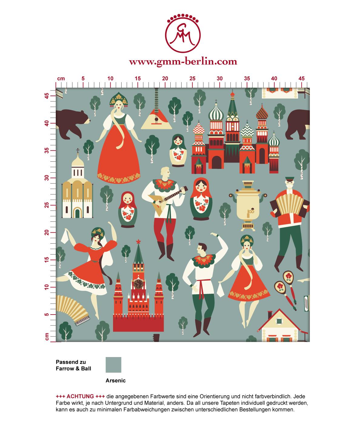 """Kalinka"" bunte Tapete mit tanzenden Russen in Tracht, Bären und russischen Elementen in grau grün - groß angepasst an Farrow & Ball Wandfarben"