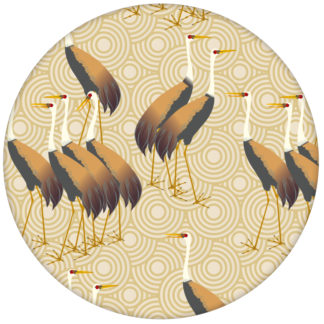 """Feine Design Tapete """"Kraniche des Ibykus"""" mit asiatischen Kranichen in gelb für Wohnzimmer"""