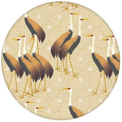 """Feine Design Tapete """"Kraniche des Ibykus"""" mit asiatischen Kranichen in gelb für Wohnzimmeraus dem GMM-BERLIN.com Sortiment: beige Tapete zur Raumgestaltung: #Asien #gelb #Kraniche #Little Greene #tapete #voegel für individuelles Interiordesign"""