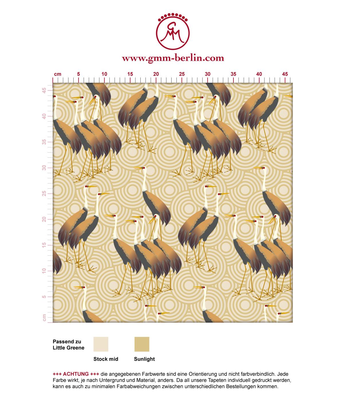 """Feine Tapete """"Kraniche des Ibykus"""" mit asiatischen Kranichen in gelb angepasst an Little Greene Wandfarben 3"""