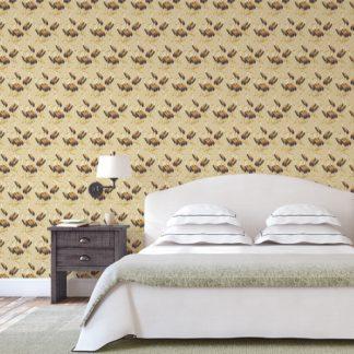 """Tapete Wohnzimmer creme: Feine Design Tapete """"Kraniche des Ibykus"""" mit asiatischen Kranichen in gelb für Wohnzimmer"""