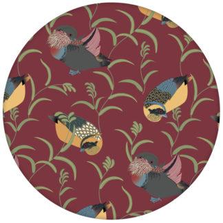 """Feine rote Wand-Tapete """"Im Schlossteich"""" mit Enten im Schilf für Wohnzimmer"""