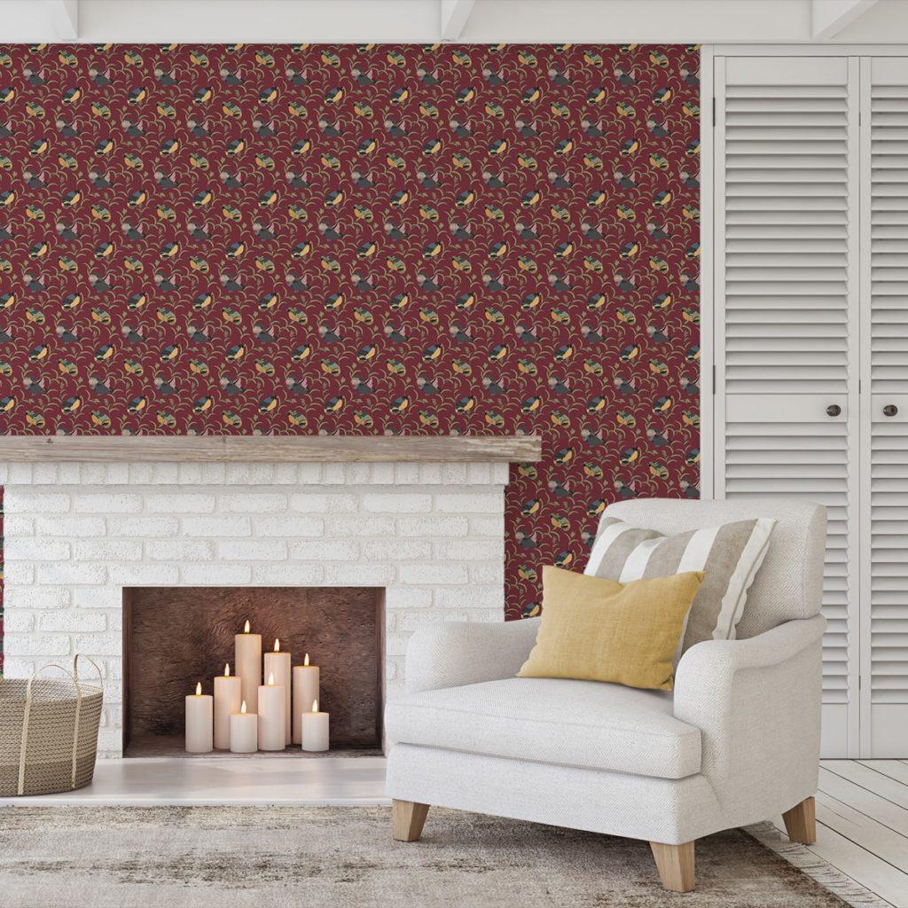 """Feine rote Design Tapete """"Im Schlossteich"""" mit Enten im Schilf Wandgestaltung Wohnzimmer"""