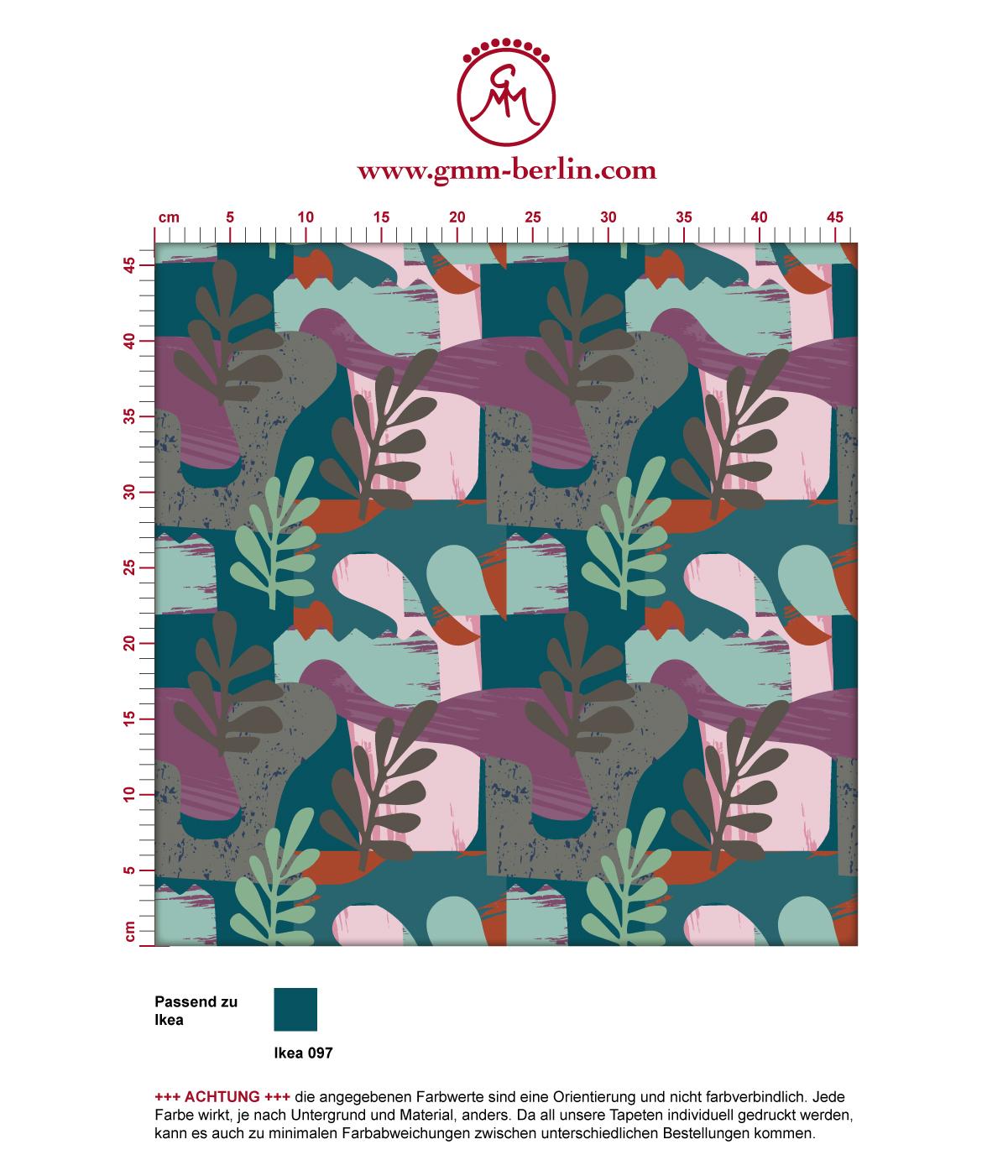 "Moderne Retro Tapete ""Exotic Leaf"" im Stil der 70er in grün angepasst an Ikea Wandfarben 3"