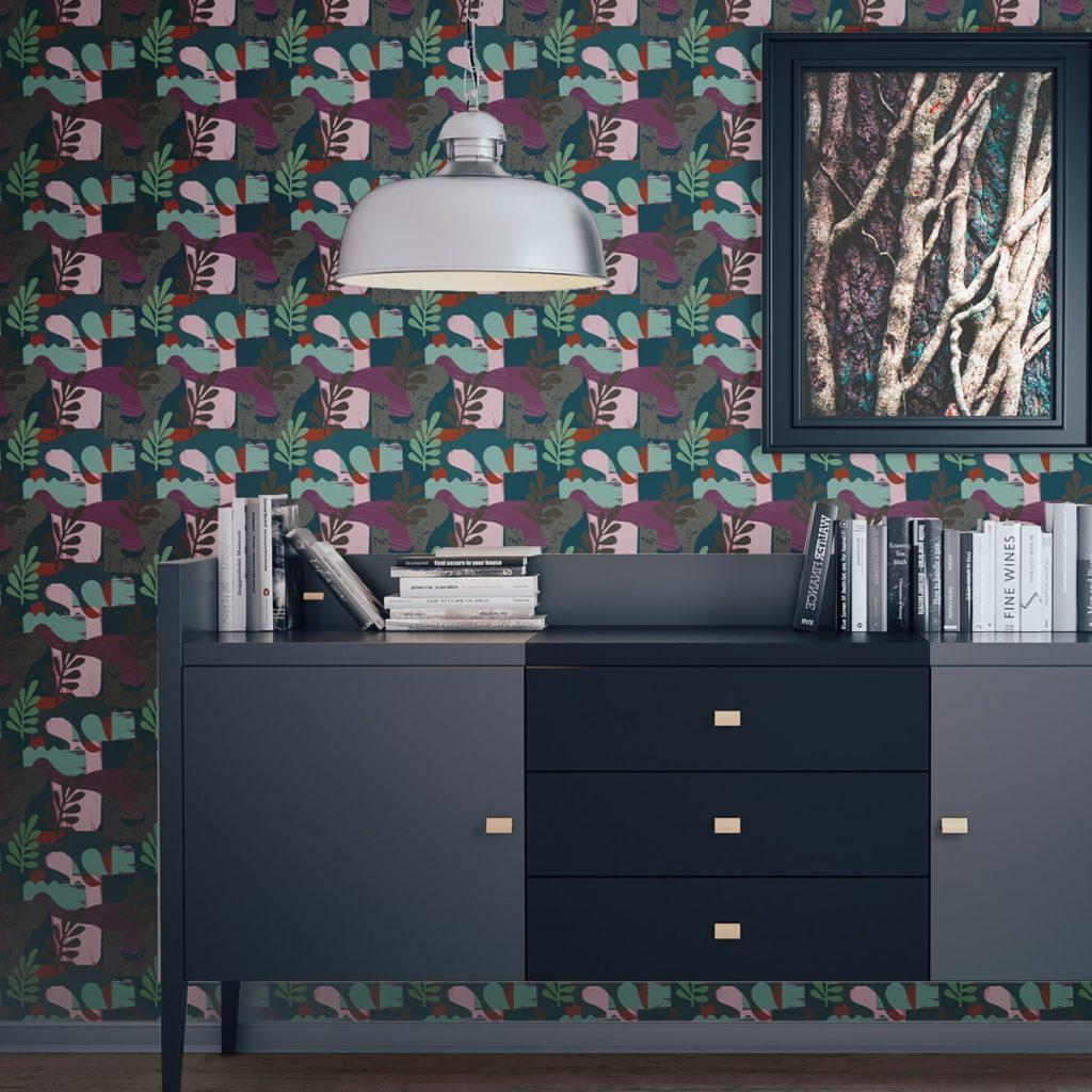 "Moderne Retro Tapete ""Exotic Leaf"" im Stil der 70er in grün angepasst an Ikea Wandfarben"