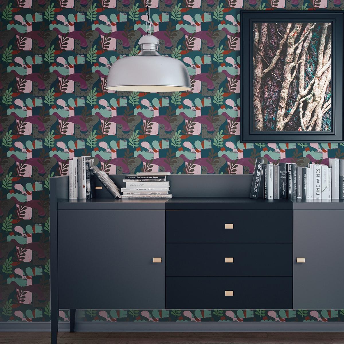 Wandtapete rot: Moderne Retro Design Tapete