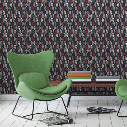 """Wandtapete dunkel rot: Dunkelgraue moderne Vlies Tapete """"Im Blätterwald"""" angepasst an Ikea Wandfarben 2"""