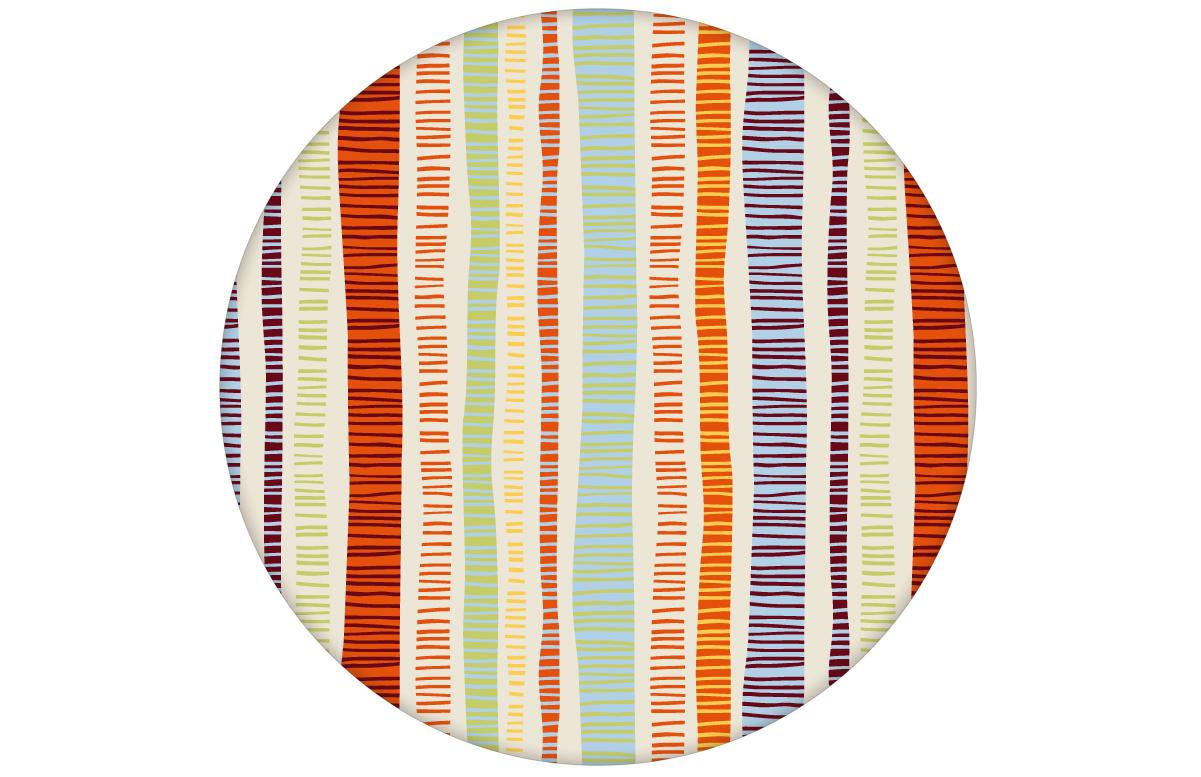 """Frische orange """"Dotted Lines"""" Design Tapete mit bunten Streifen für Büro Küche Flur"""