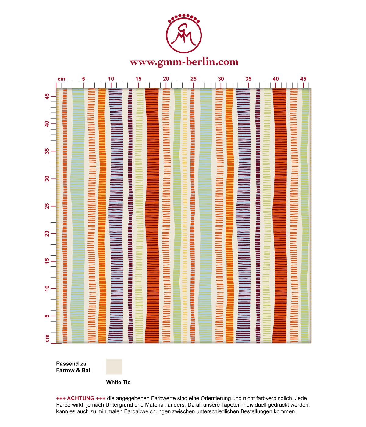 """Frische orange """"Dotted Lines"""" Tapete mit bunten Streifen angepasst an Farrow and Ball Wandfarben. Aus dem GMM-BERLIN.com Sortiment: Schöne Tapeten in der Farbe: Orange"""