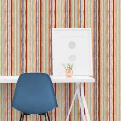 """Frische orange """"Dotted Lines"""" Streifentapete mit bunten Streifen Wandgestaltung"""