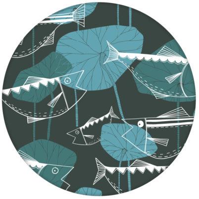 """Design Vlies Tapete """"Angler Glück"""" mit Retro Fiscen im Stil der 70er in blau grau Retro Wandgestaltung"""
