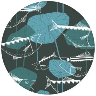 """Design Vlies Tapete """"Angler Glück"""" mit Retro Fiscen im Stil der 70er in blau grau Retro Wandgestaltung aus den Tapeten Neuheiten Exklusive Tapete für schönes Wohnen als Naturaltouch Luxus Vliestapete oder Basic Vliestapete"""