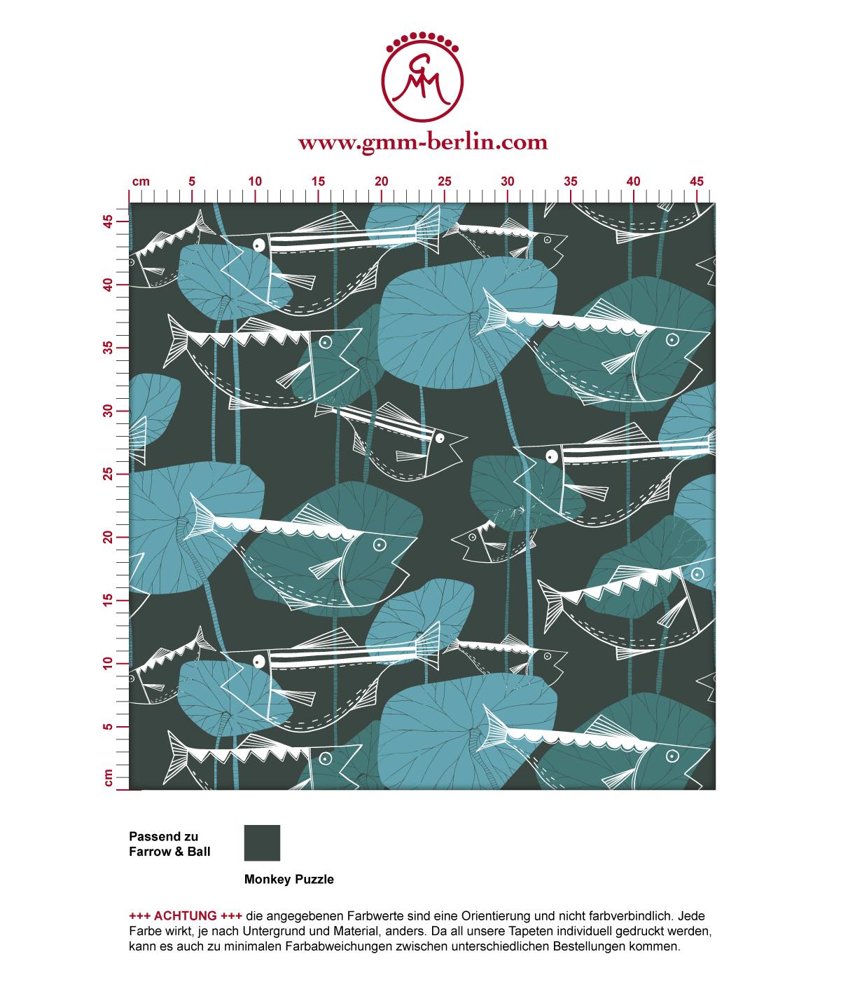 """Tapete """"Angler Glück"""" mit Retro Fiscen im Stil der 70er in blau grau angepasst an Farrow and Ball Wandfarben. Aus dem GMM-BERLIN.com Sortiment: Schöne Tapeten in der Farbe: grün blau"""