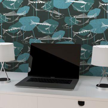 """Design Tapete """"Angler Glück"""" mit Retro Fiscen im Stil der 70er in blau grau für Büro Wohnzimmer"""