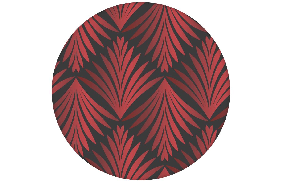 "Tapete ""Art Deco Akanthus"" mit klassischem Blatt Muster in grau rot angepasst an Little Greene Wandfarben"