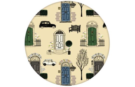 """Londoner Tapete """"Belgravia"""" mit Haustüren, Mini und Cabs Farbe grün"""