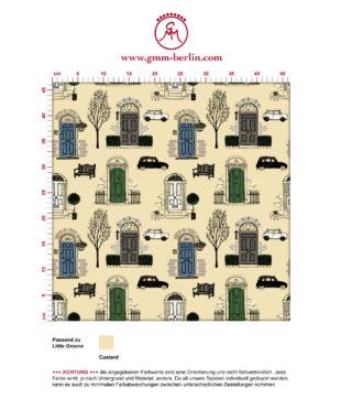 """Londoner Tapete """"Belgravia"""" mit Haustüren, Mini und Cabs in grün angepasst an Little Greene Wandfarben"""
