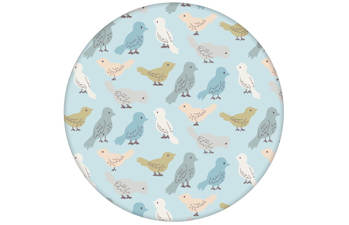 """Kinderzimmer Tapete """"Alle Vöglein"""" mit einem Schwarm bunter Vögel, Wandgestaltung hellblau"""