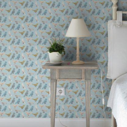 """Küchentapete hellblau: nette Design Tapete """"Alle Vöglein"""" mit Vögeln hellblau für Schlafzimmer Kinderzimmer Küche"""