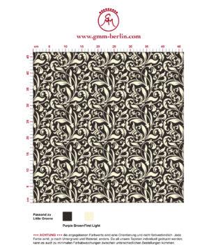 """Victorianische florale Tapete """"Victorian Delight"""" mit victorianischem Blatt Muster braun angepasst an Little Greene Wandfarben"""