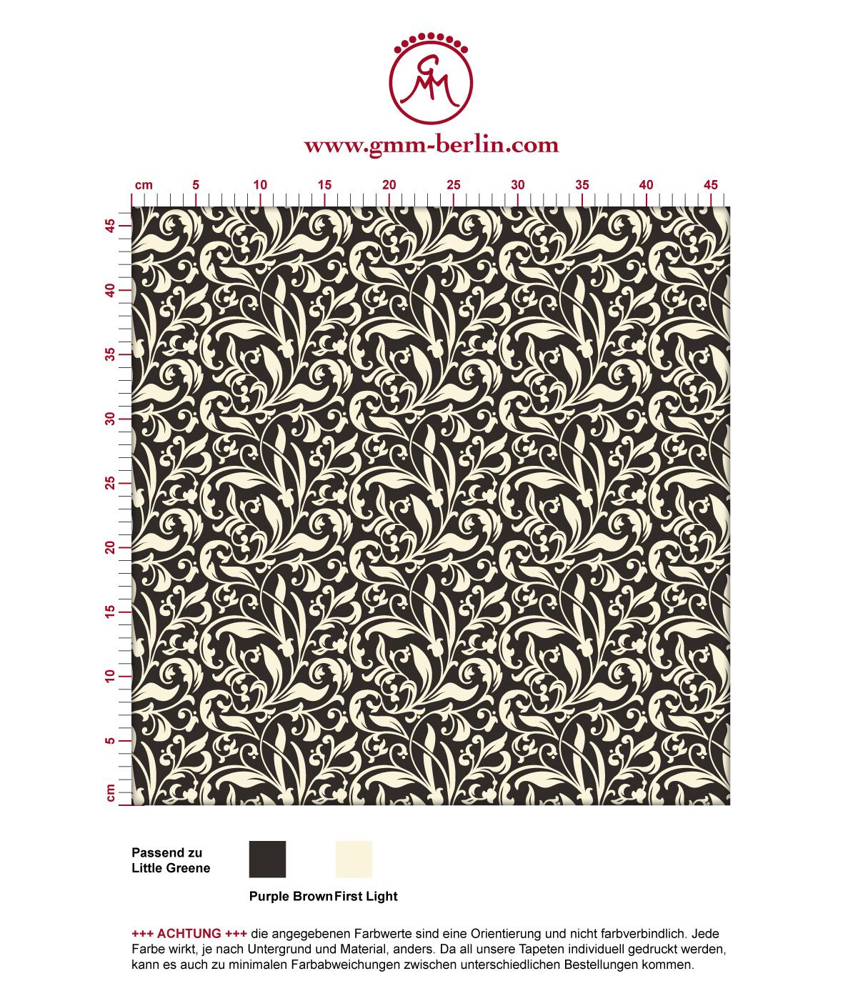 """Victorianische florale Tapete """"Victorian Delight"""" mit victorianischem Blatt Muster braun angepasst an Little Greene Wandfarben 3"""