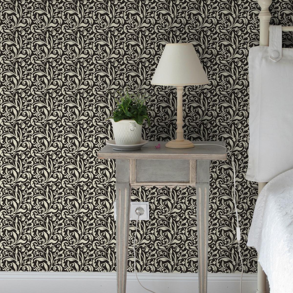 """Wandtapete schwarz: Victorianische florale Tapete """"Victorian Delight"""" mit Blatt Muster braun Wandgestaltung"""